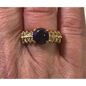 Vintage Amethyst CZ Cocktail Engagement Ring